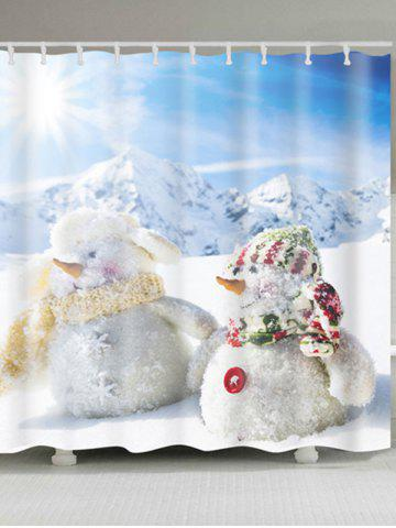 Discount Two Snowman Printed Polyester Waterproof Shower Curtain - W59 INCH * L71 INCH WHITE Mobile