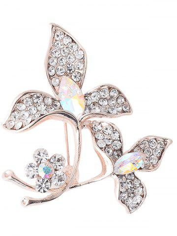 Chic Faux Gem Rhinestoned Floral Sparkly Brooch - WHITE  Mobile