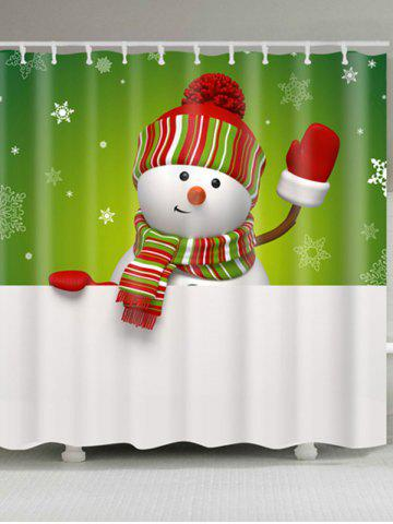 Sale Snowman Print Polyester Waterproof Shower Curtain - W59 INCH * L71 INCH WHITE AND GREEN Mobile