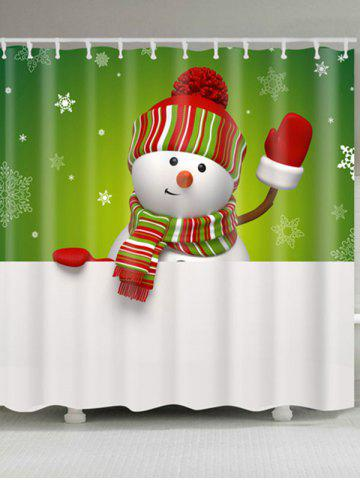 Unique Snowman Print Polyester Waterproof Shower Curtain - W71 INCH * L71 INCH WHITE AND GREEN Mobile