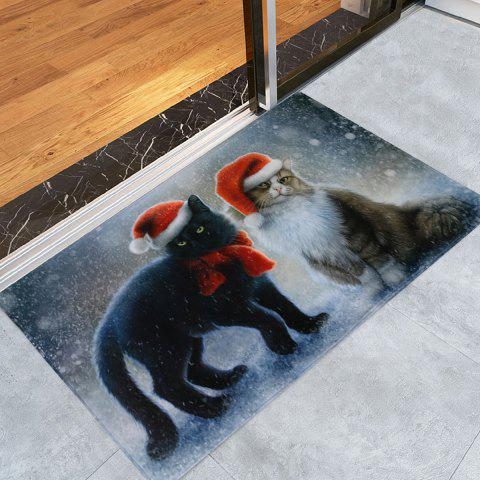 Fashion Christmas Cats Pattern Anti-skid Water Absorption Area Rug - W24 INCH * L35.5 INCH COLORMIX Mobile