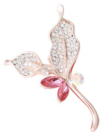 Unique Rhinestone Faux Crystal Sparkly Leaf Brooch - PINK  Mobile