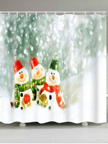 Discount Three Snowmen Print Christmas Waterproof Bath Curtain