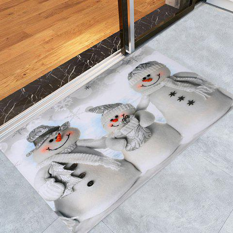 Christmas Snowmen Family Pattern Anti-skid Water Absorption Area Rug - GREY WHITE - W16 INCH * L24 INCH