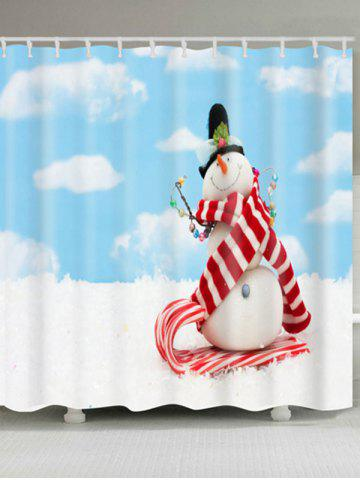 Fashion Waterproof Polyester Christmas Snowman Shower Curtain CLOUDY W71 INCH * L79 INCH