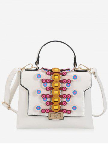 Unique Geometric Contrasting Color Handbag - WHITE  Mobile