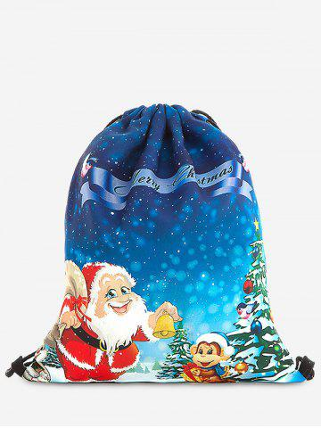 Trendy Drawstring Print Christmas Backpack - BLUE  Mobile