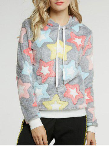 Outfits Long Sleeve Five Pointed Star Pattern Hoodie COLORMIX M