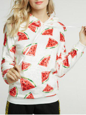 Cheap Watermelon Print Fleece Drawstring Hoodie WHITE M