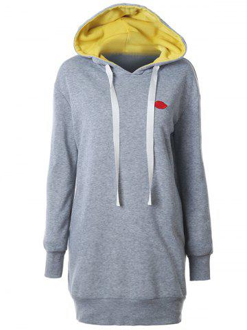 Hot Lip Embroidered Drop Shoulder Longline Hoodie - S GRAY Mobile