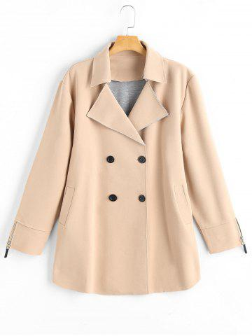 Buy Plus Size Lapel Double Breast Coat with Pocket
