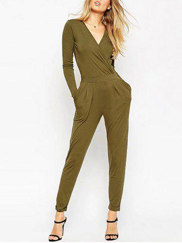 New V Neck Back Cut Out Jumpsuit - S ARMY GREEN Mobile