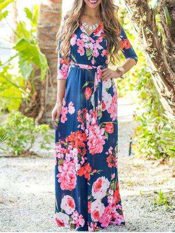Latest Flower Print Maxi Dress with Belt - XL CERULEAN Mobile