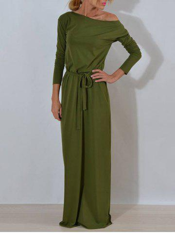 Cheap Long Sleeve One Shoulder Maxi Dress ARMY GREEN S
