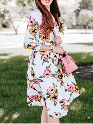 Chic Flower Print Swing Casual Dress - S WHITE Mobile