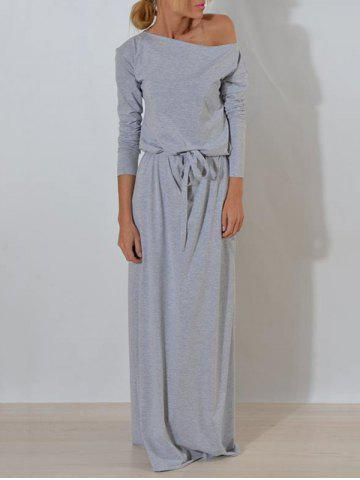 Outfit Long Sleeve One Shoulder Maxi Dress - S GRAY Mobile
