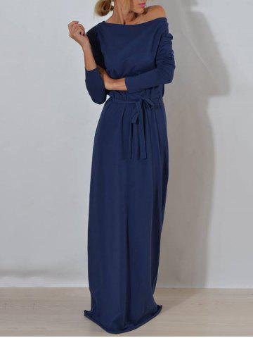 Outfits Long Sleeve One Shoulder Maxi Dress BLUE S