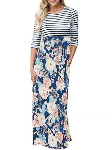 Buy Flower Print Striped Long Dress - S FLORAL Mobile