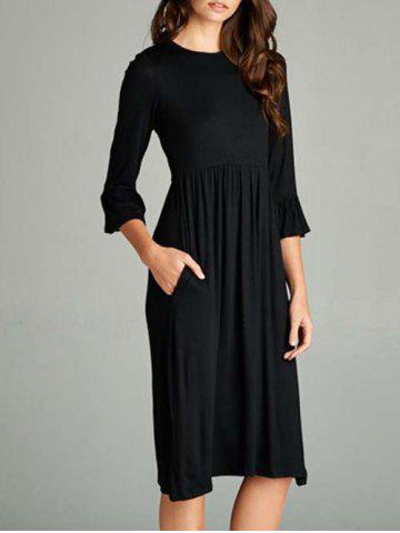 Fancy Bell Sleeve Knee Length T Shirt Dress - S BLACK Mobile