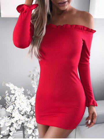 Chic Flounce Embellished Off The Shoulder Bodycon Dress RED S