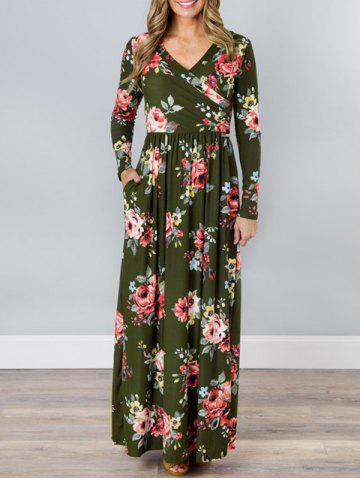 Chic V Neck Floral Long Beach Dress - XL GREEN Mobile