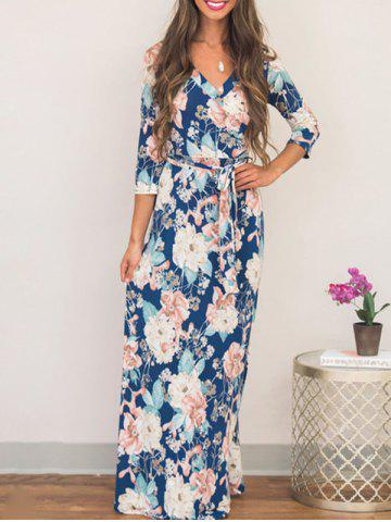 Fashion Maxi Flower Print Boho Dress - S COLORMIX Mobile