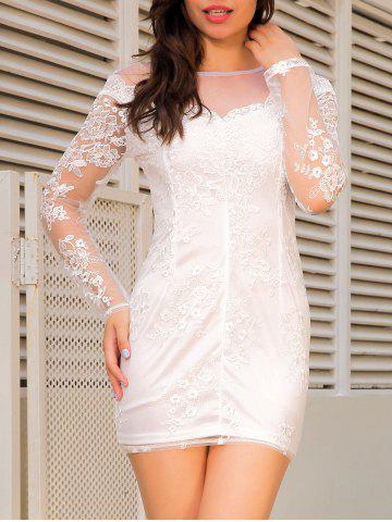 Unique Sheer Long Sleeve Mini Lace Dress WHITE M