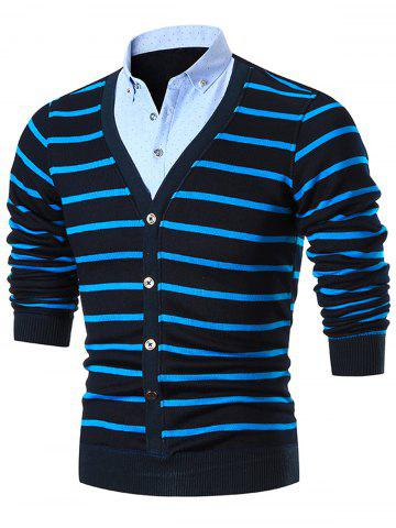 Store Fake Two Piece Stripe Cardigan - BLUE 2XL Mobile