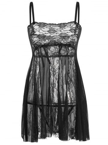 Affordable Lace Slip See Thru Babydoll - L BLACK Mobile