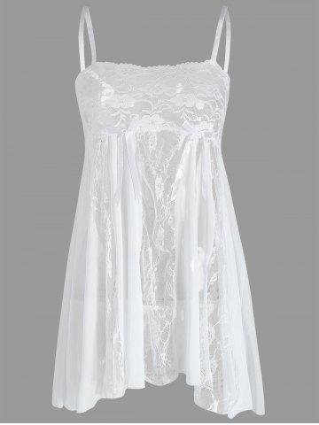 Latest Lace Slip See Thru Babydoll - L WHITE Mobile