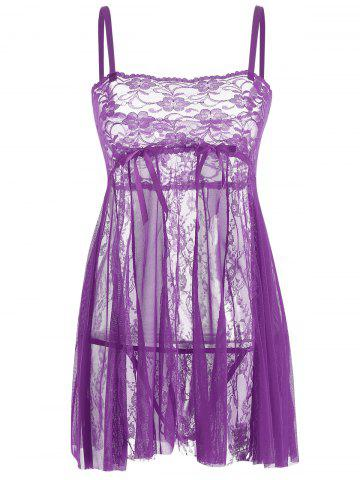 Shop Lace Slip See Thru Babydoll PURPLE XL