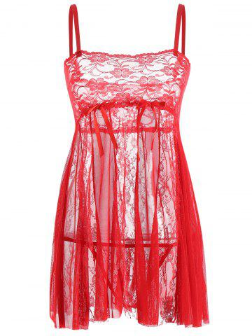 Fancy Lace Slip See Thru Babydoll - XL RED Mobile