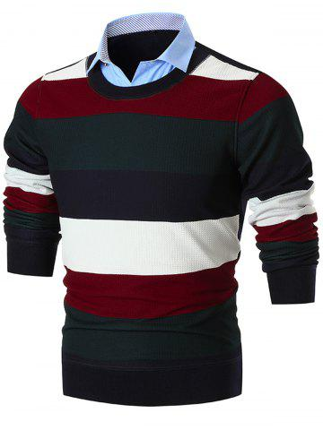 Latest Shirt Collar False Two Piece Wide Stripe Sweater - 3XL BLACK Mobile