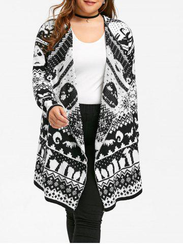 Shop Halloween Plus Size Skull Sweater Drape Cardigan BLACK WHITE 5XL