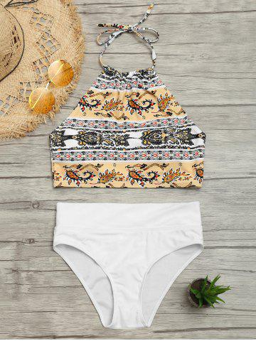 Unique Tribal Print Halter Bikini Swimwear - L COLORMIX Mobile