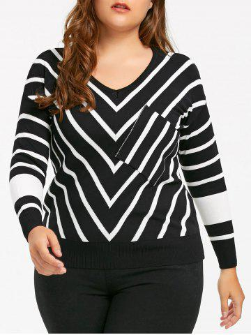 Affordable Plus Size Knit V Neck  Striped Sweater - 5XL BLACK Mobile