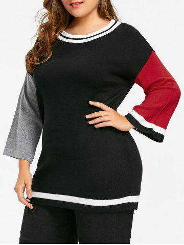 Unique Plus Size Hit Color Long Sweater BLACK 2XL