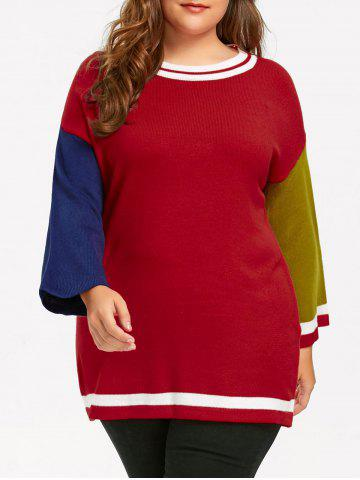 Trendy Plus Size Hit Color Long Sweater - 3XL RED Mobile