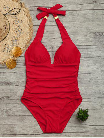 Latest Halter One Piece Ruched Swimsuit RED L