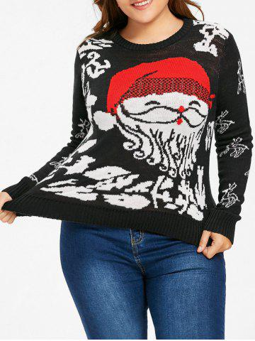 Outfits Christmas Santa Claus Plus Size Jumper Sweater - 4XL BLACK Mobile