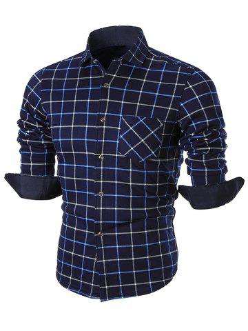 Trendy Plush-lined Pocket Checkered Long Sleeve Shirt BLUE XL