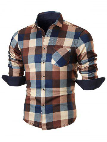 Unique Chest Pocket Fleece-lined Plaid Shirt - 2XL COFFEE Mobile