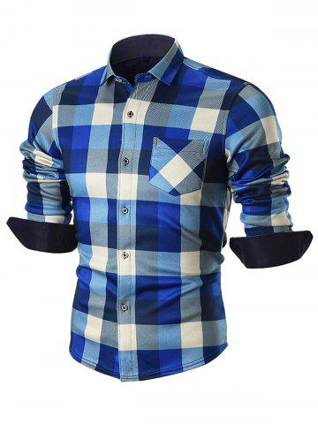 Hot Chest Pocket Fleece-lined Plaid Shirt BLUE 3XL