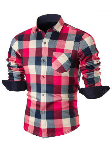 Fancy Chest Pocket Fleece-lined Plaid Shirt - 4XL RED Mobile