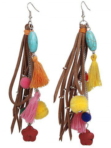 New Turquoise Colorful Tassel Balls Drop Earrings - COLORFUL  Mobile