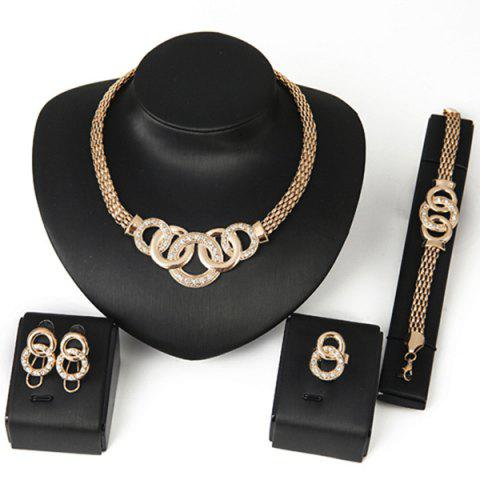 Online Rhinestone Annulus Embellished Necklace Bracelet Ring and Earrings Set - GOLDEN  Mobile