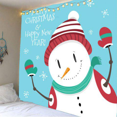 Sale Wall Art Christmas Happy Snowman Pattern Tapestry - W59 INCH * L51 INCH WHITE Mobile