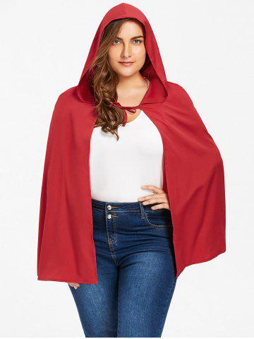 Discount Plus Size Long Hooded Cape - XL RED Mobile