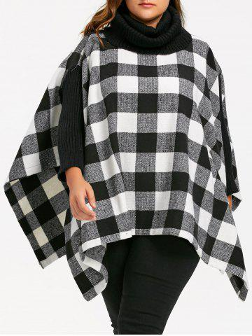 Best Plus Size Plaid Turtleneck Poncho Coat - 4XL BLACK WHITE Mobile