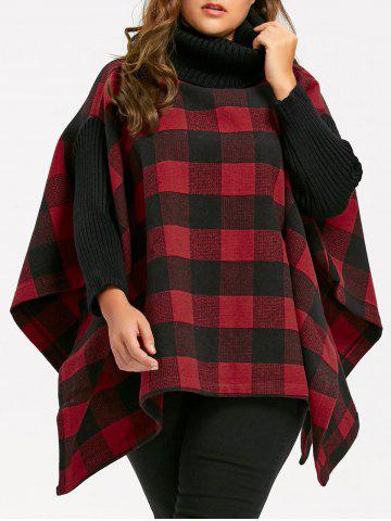Chic Plus Size Plaid Turtleneck Poncho Coat RED 2XL
